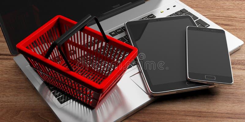 Teléfono móvil, ordenador portátil del ordenador, tableta y una cesta de compras roja en fondo de madera ilustración 3D stock de ilustración