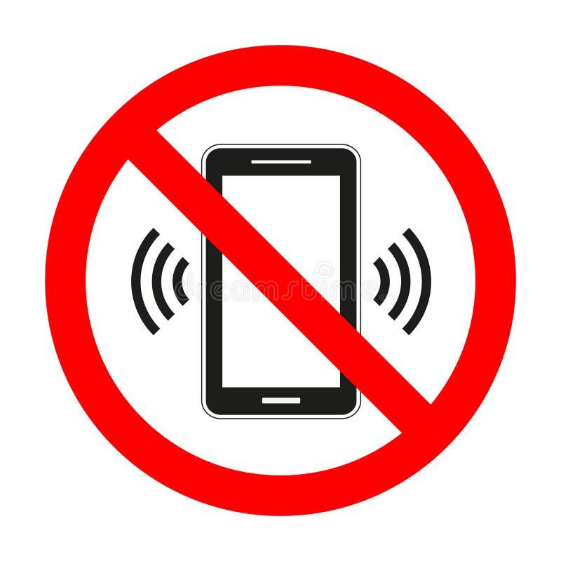 Teléfono móvil prohibido Ninguna muestra del teléfono celular aislada en el fondo blanco ilustración del vector