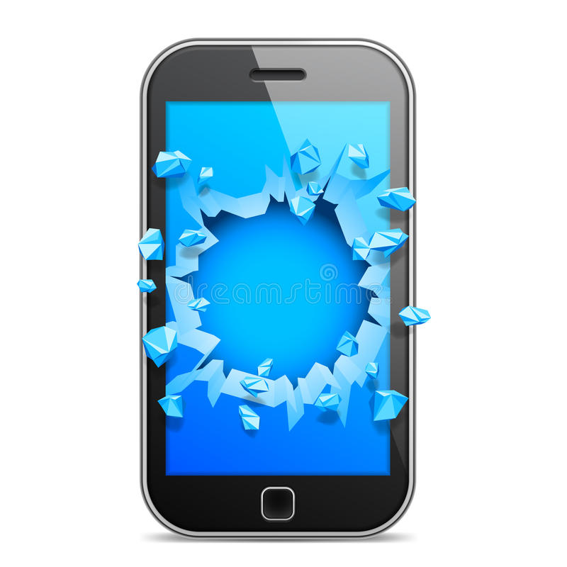 Teléfono móvil quebrado stock de ilustración