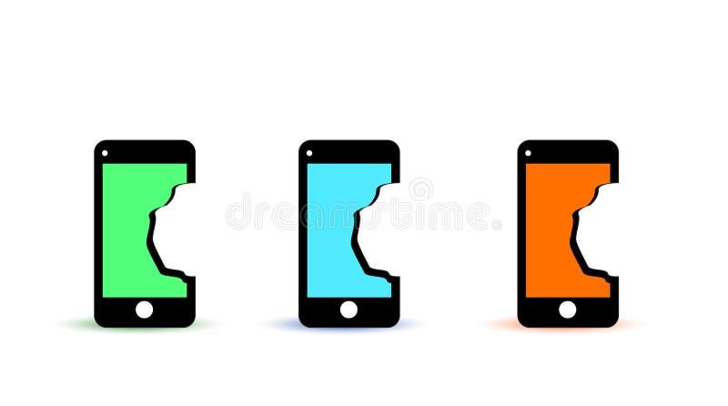 Teléfono móvil quebrado de los iconos con la pantalla quebrada ilustración del vector