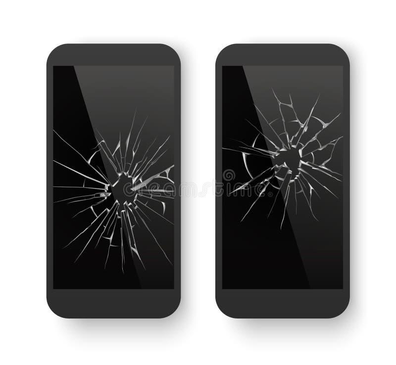 Teléfono móvil quebrado Pantalla agrietada de Smartphone Smashed dañó el teléfono celular Repare el concepto del vector stock de ilustración