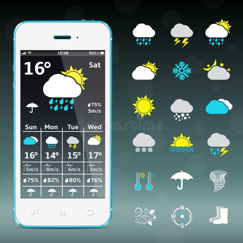 Teléfono móvil realista con el aparato y los iconos de la previsión metereológica ilustración del vector
