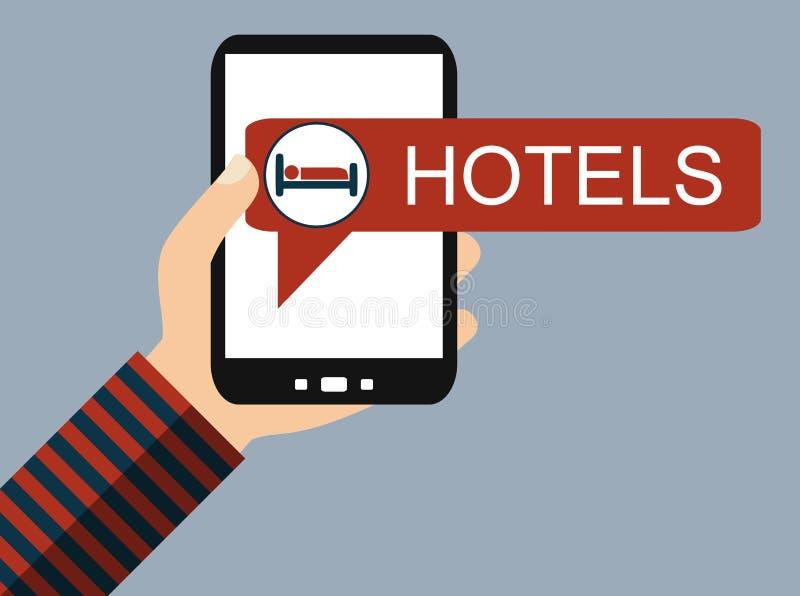 Teléfono móvil: Reservación de hotel - diseño plano stock de ilustración