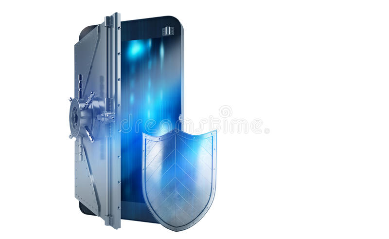 Teléfono móvil seguro del ataque del pirata informático como una caja fuerte representación 3d imagenes de archivo