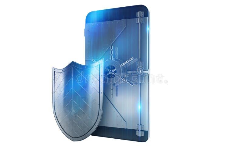 Teléfono móvil seguro del ataque del pirata informático como una caja fuerte representación 3d imagen de archivo