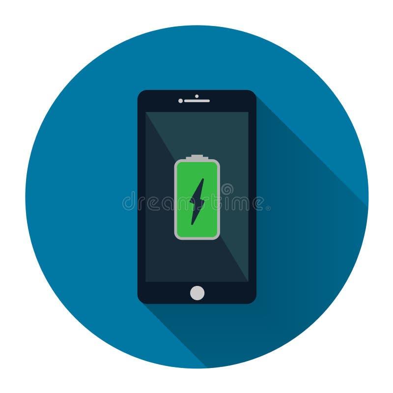 Teléfono móvil Smartphone con el icono de carga verde de la batería en scre ilustración del vector