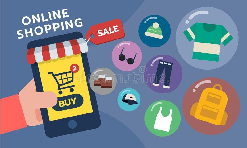 Teléfono móvil Tienda móvil, concepto de la tienda Uso en línea de las compras libre illustration