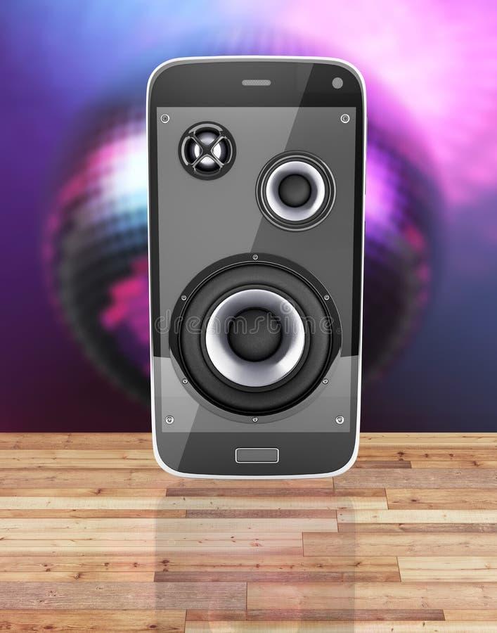 Teléfono móvil y altavoces musicales del app de la música del teléfono móvil del smartphone con las notas sobre el piso y el fond stock de ilustración