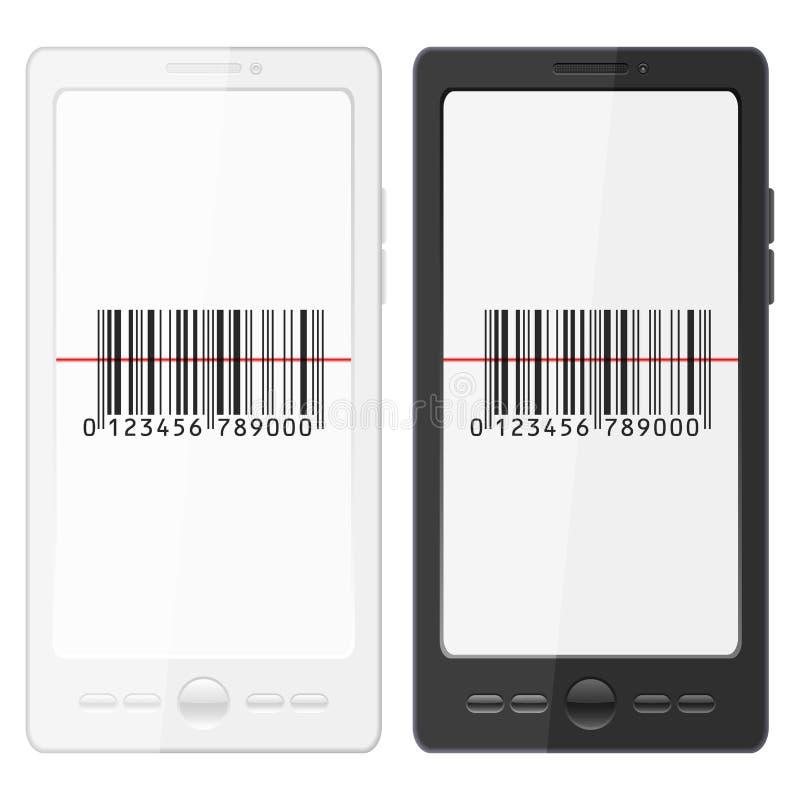 Teléfono móvil y clave de barras stock de ilustración