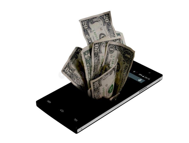 Teléfono móvil y dinero en el blanco, concepto del dinero, cuenta costosa fotos de archivo libres de regalías