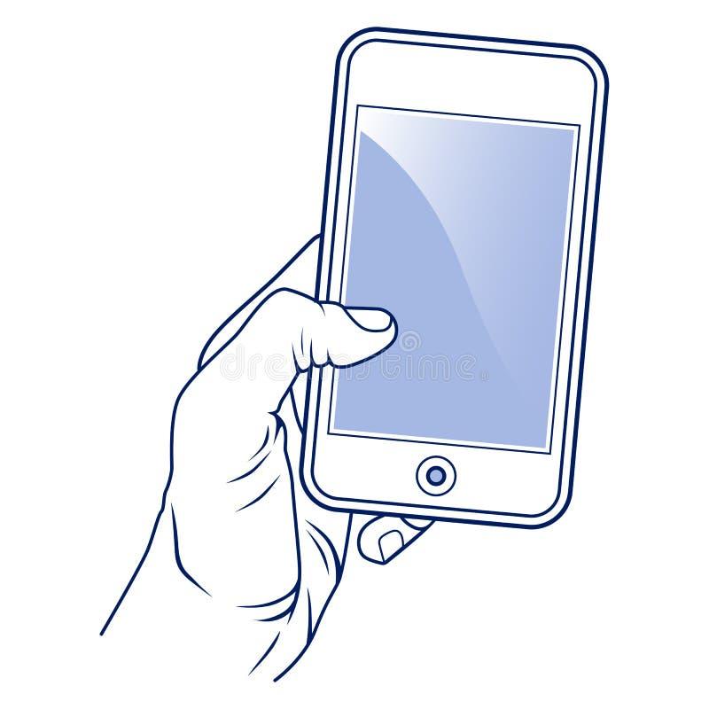 Teléfono móvil y mano stock de ilustración