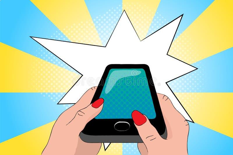 Teléfono negro en manos Ejemplo del arte pop de Smartphone libre illustration