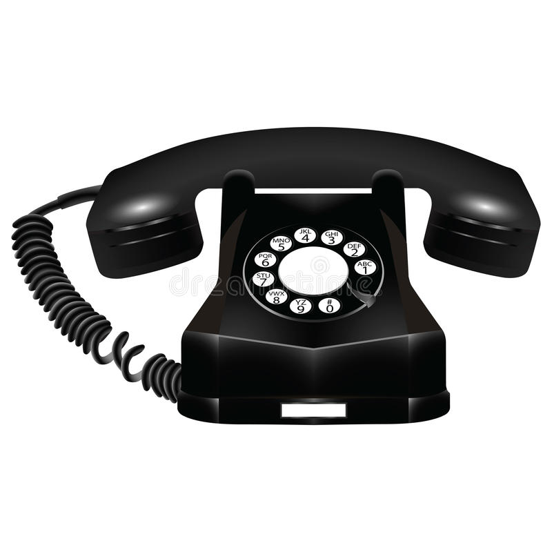 Teléfono negro viejo contra blanco libre illustration