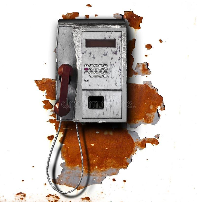Teléfono público en fondo del metal fotografía de archivo libre de regalías