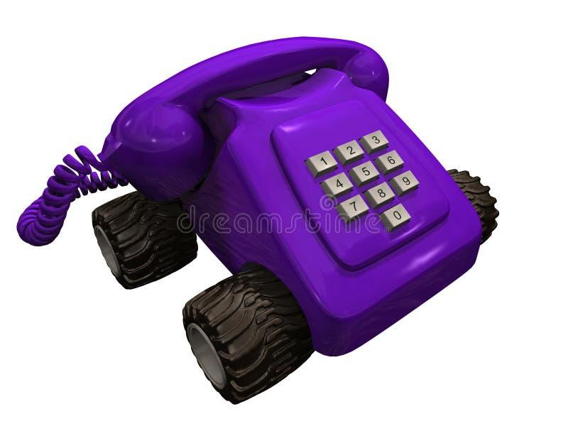 Teléfono púrpura en las ruedas stock de ilustración
