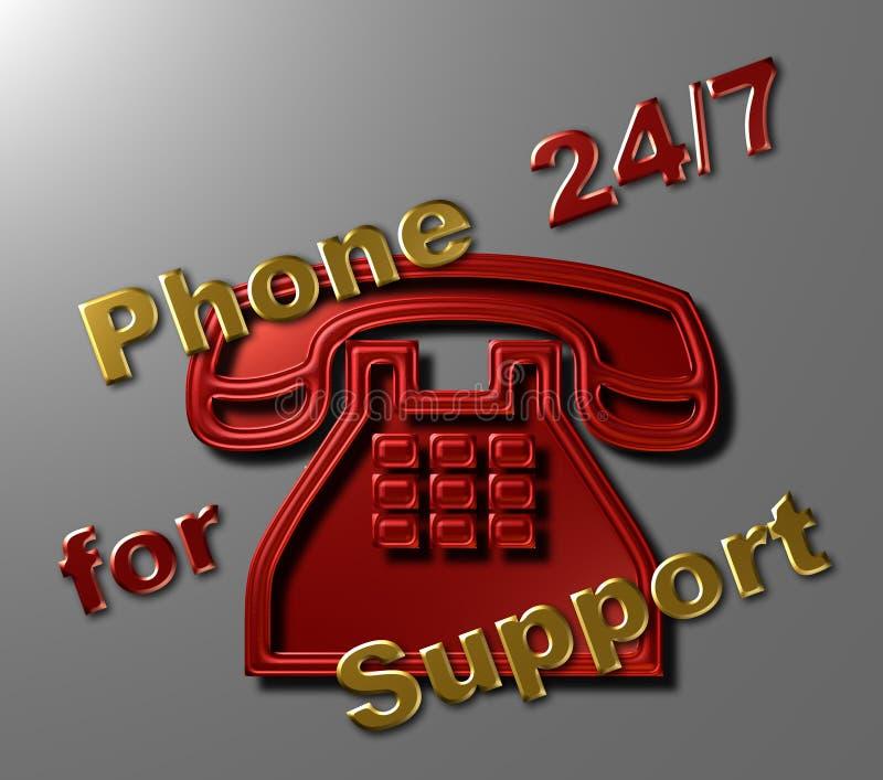 Teléfono 24/7 para la ayuda ilustración del vector