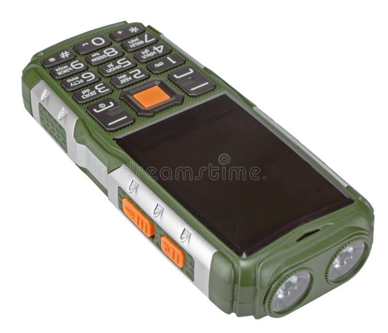 Teléfono portátil en un fondo blanco imagen de archivo libre de regalías