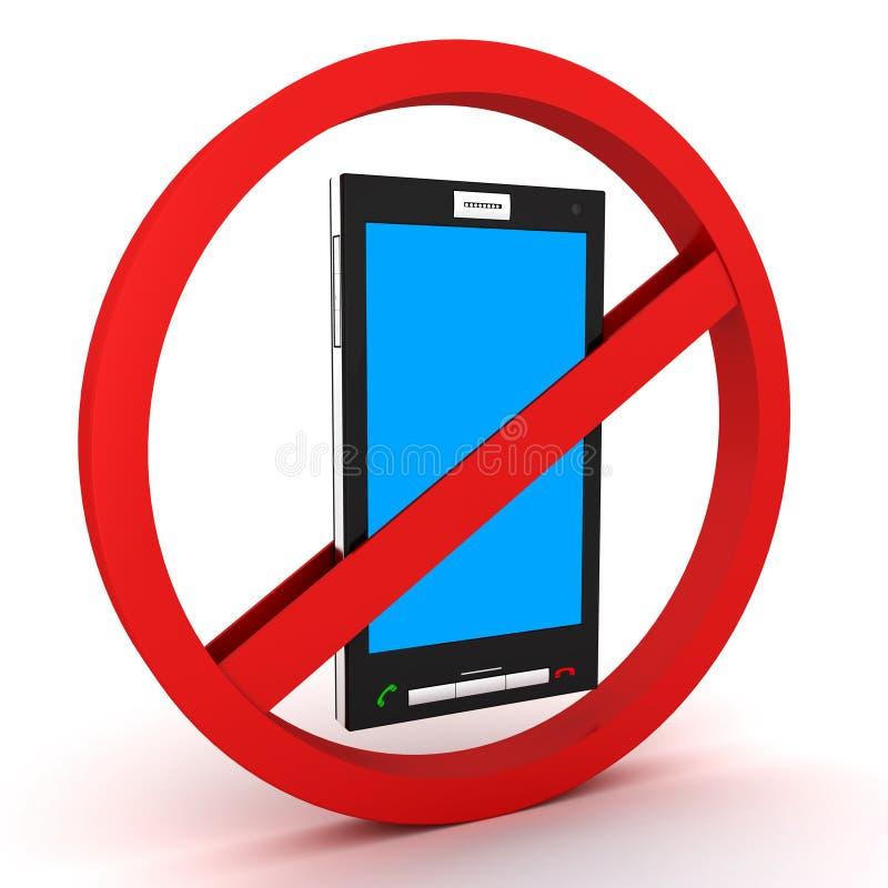 Teléfono prohibido y móvil ilustración del vector