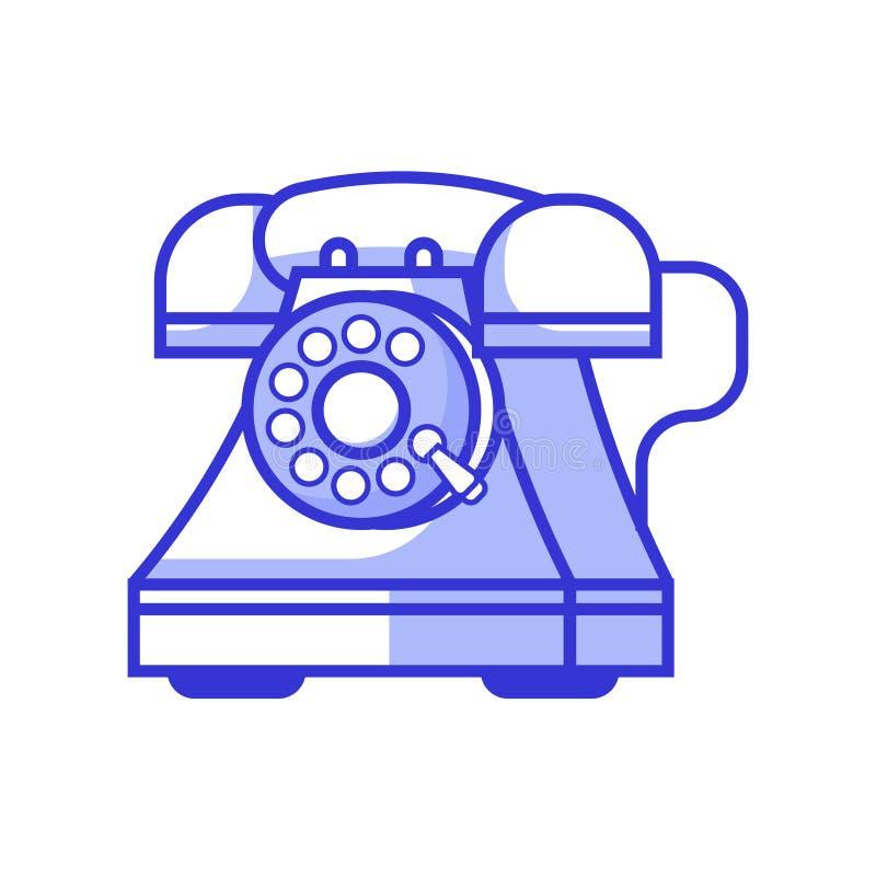 Teléfono retro con el icono del dial rotatorio ilustración del vector