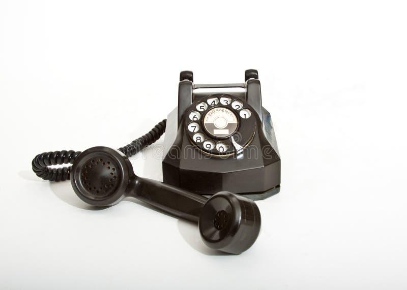 Teléfono rotatorio negro de la vendimia 1940 imagen de archivo
