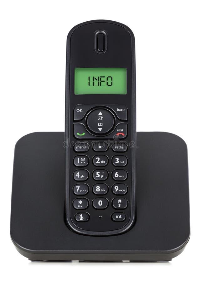 Teléfono sin cuerda negro foto de archivo libre de regalías
