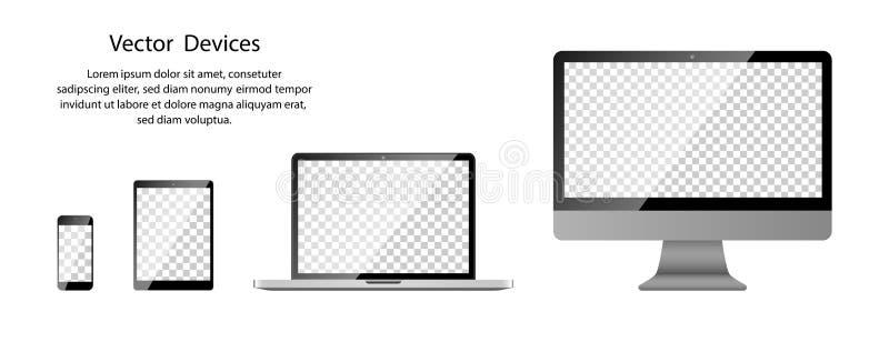 Teléfono, tableta, ordenador portátil y monitor de computadora realistas con la pantalla transparente en fondo en blanco ilustración del vector