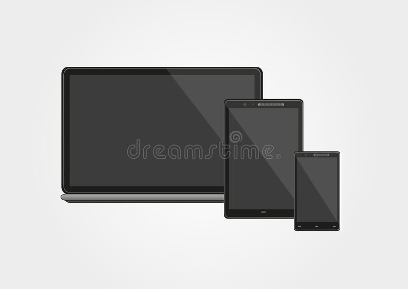 Teléfono, tableta y ordenador portátil elegantes ilustración del vector