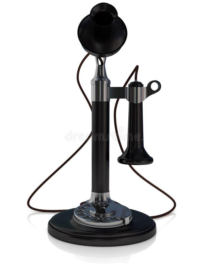 Teléfono viejo, negro antiguo del teléfono de la palmatoria aislado en el fondo blanco, ejemplo 3D ilustración del vector