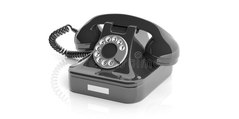 Teléfono viejo negro en el fondo blanco ilustración 3D stock de ilustración