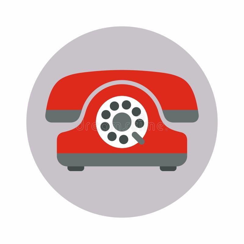 Teléfono viejo rojo con un icono del disco, ejemplo plano del vector del estilo stock de ilustración