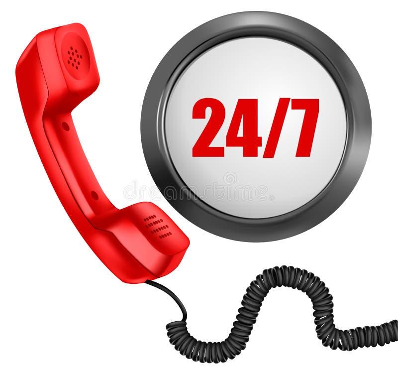 Teléfono y 24/7 botón. 24 horas en día stock de ilustración