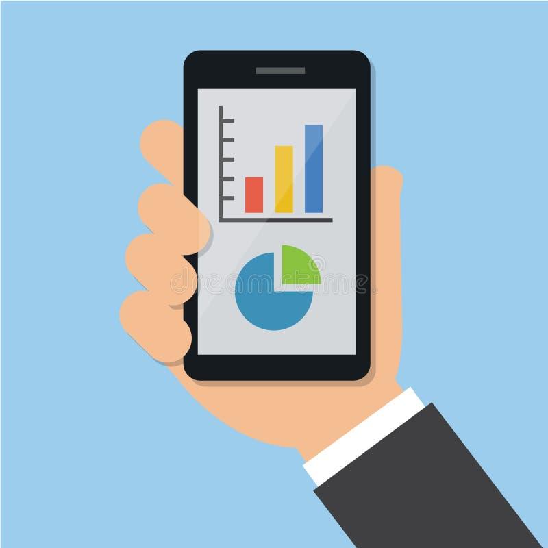 Teléfono y gráfico de Hand Show Mobile del hombre de negocios en el teléfono móvil Estilo plano del ejemplo del vector del negoci libre illustration