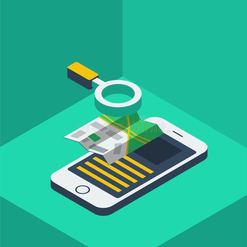 Teléfono y mapa de Infographic libre illustration