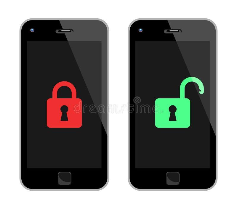 Teléfonos elegantes cerrados y desbloqueados ilustración del vector