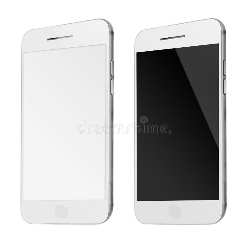 Teléfonos elegantes móviles con la pantalla blanca y en blanco aislada en pizca libre illustration