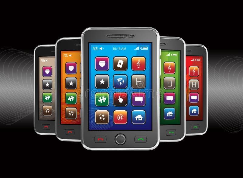 Teléfonos elegantes móviles negros stock de ilustración