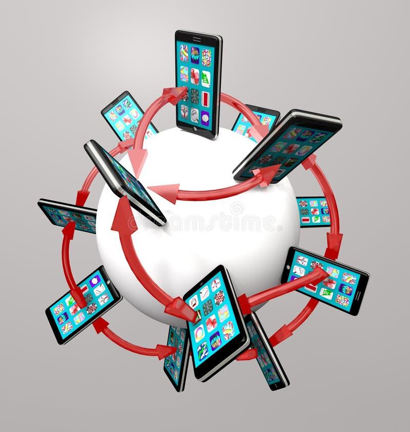 Teléfonos elegantes y red de comunicaciones globales de Apps libre illustration