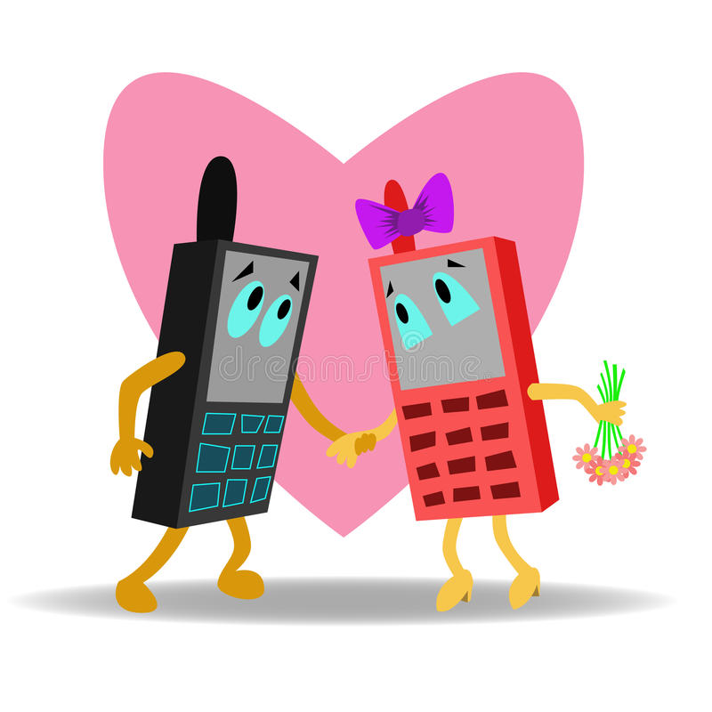 Teléfonos móviles del amor fotos de archivo