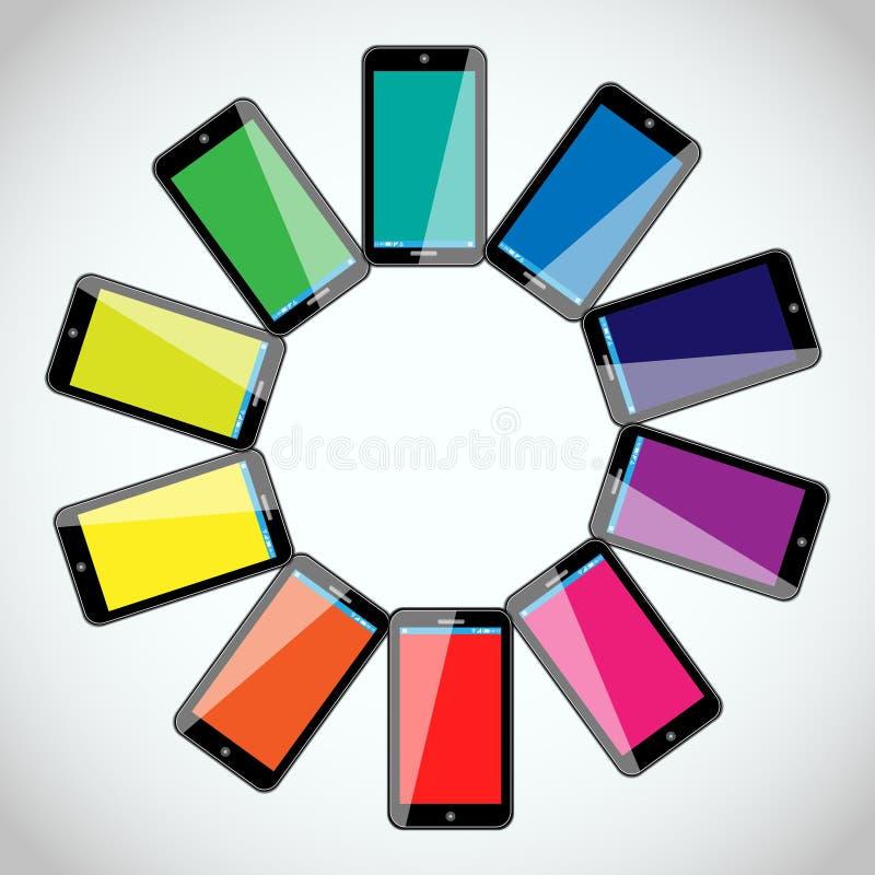 Teléfonos móviles - diseño colorido del vector stock de ilustración