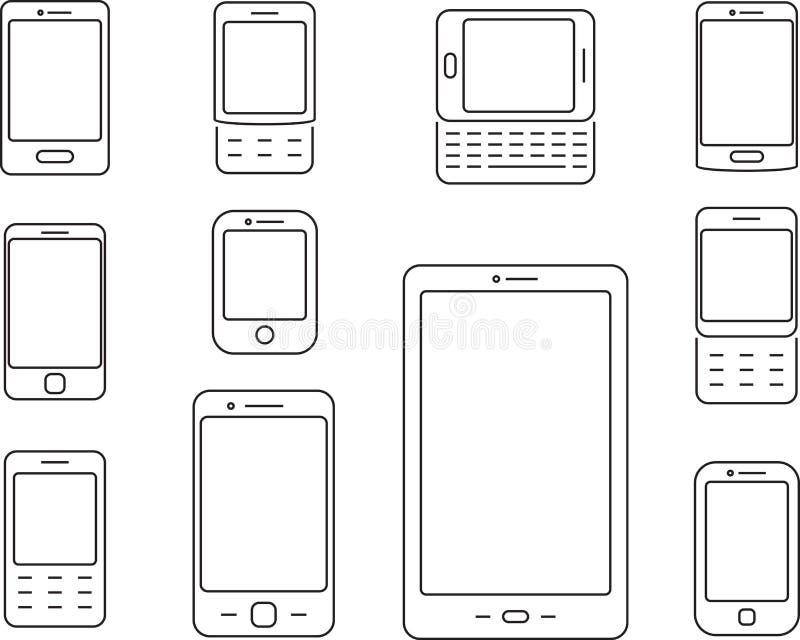 Teléfonos móviles, teléfonos móviles e iconos de los smartphones libre illustration