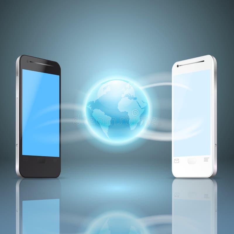 Teléfonos y el globo, concepto móvil de Internet libre illustration