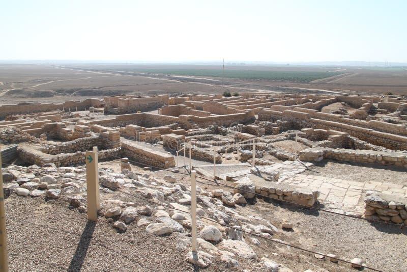 Tel啤酒舍瓦国家公园废墟,以色列 库存图片