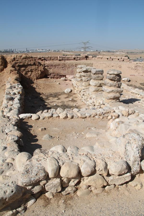 Tel啤酒舍瓦废墟,以色列 库存图片
