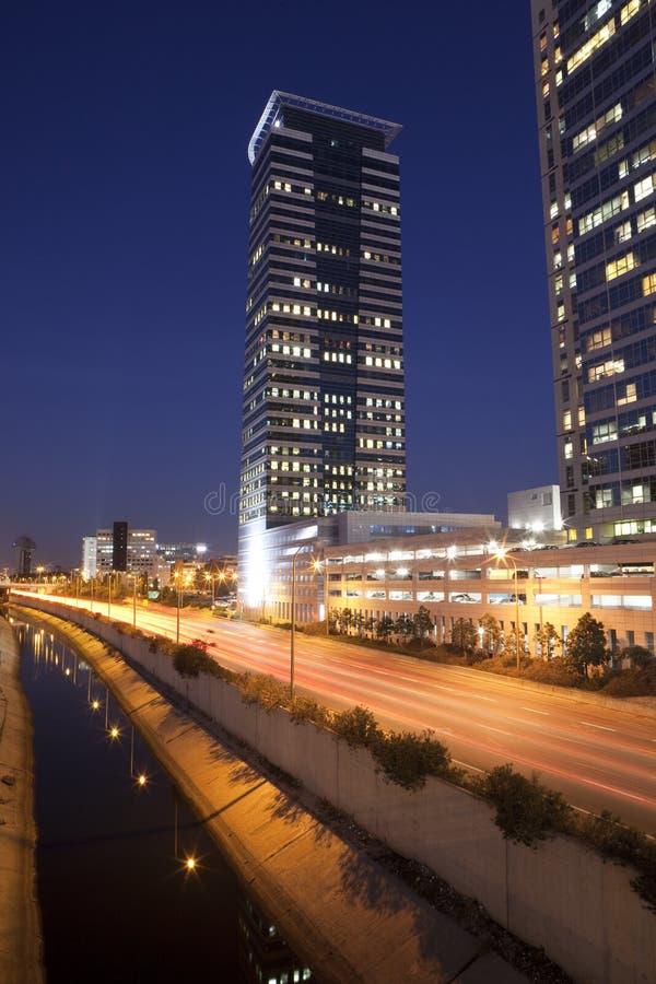 tel ночи города aviv стоковое фото rf