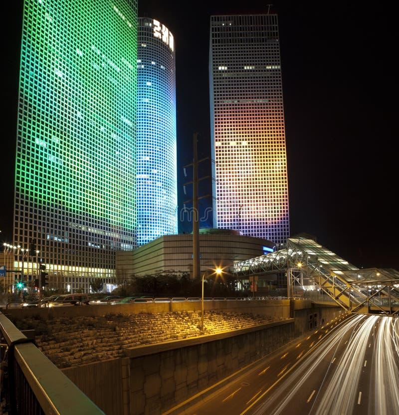 tel ночи города aviv стоковые изображения rf