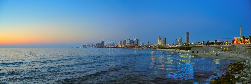 tel панорамы Израиля пляжа aviv стоковое изображение rf