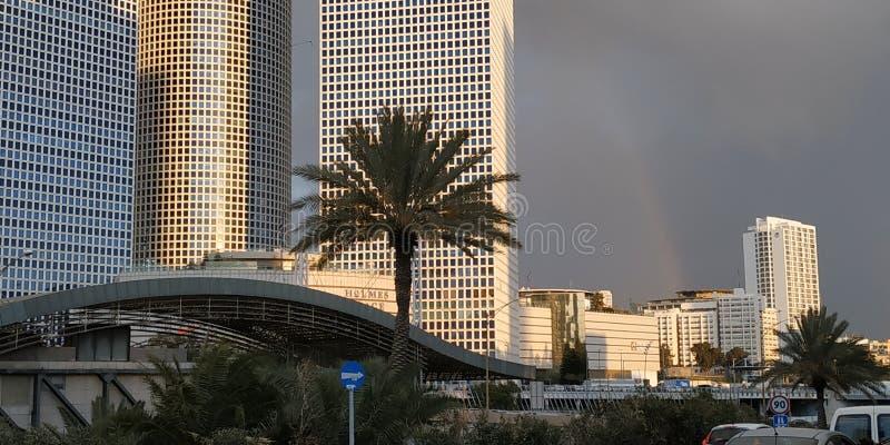 Tel Aviv är en härlig stad Azrieli sikt royaltyfria bilder