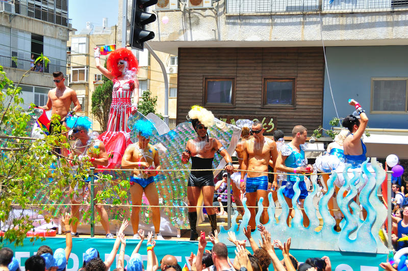 Tel Aviv 2010 Gay Parade. Mobile stages with performers at the annual Tel Aviv Gay Parade, Israel 2010 stock images