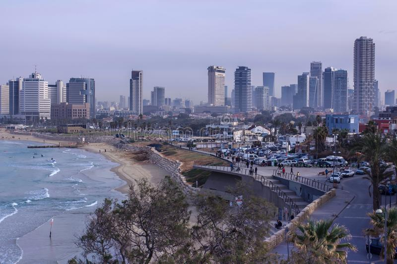 Tel Aviv beach and city Skyline in the morning mist Israel royalty free stock images