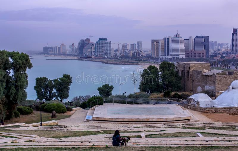 Tel Aviv beach and city Skyline in the morning mist Israel royalty free stock image